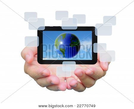 the world in touch pad PC on women hand
