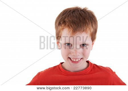 Cute Boy, Smiling, Isolated On White Background. Studio Shot.