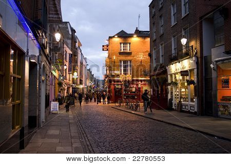 Temple Bar District In Dublin At Night
