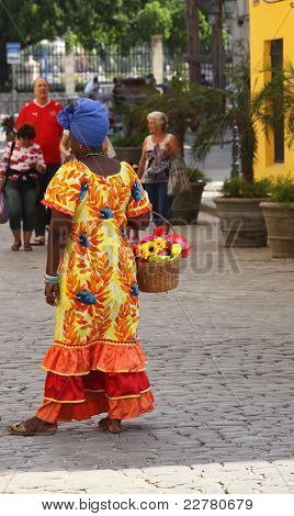 Cuban Woman In Colorful Dress