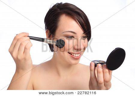 Happy Beautiful Woman Using Make Up Blusher Brush