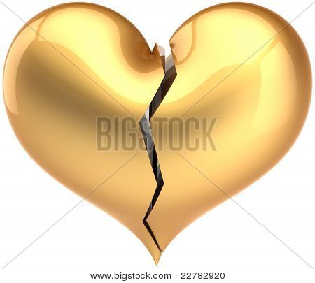 Broken heart shape total golden