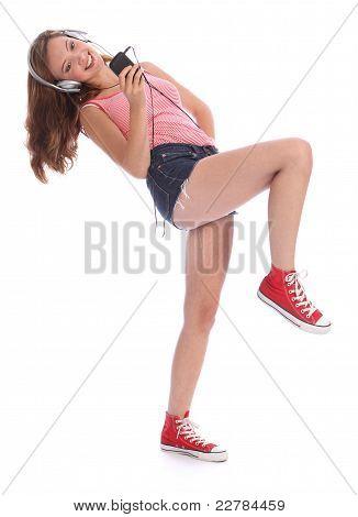 Pretty Teenage Girl Has Fun Dancing To Music