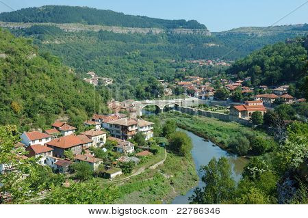 Old Veliko Tarnovo Panorama From Tsarevets Hill ,bulgaria, Unesco World Heritage Site