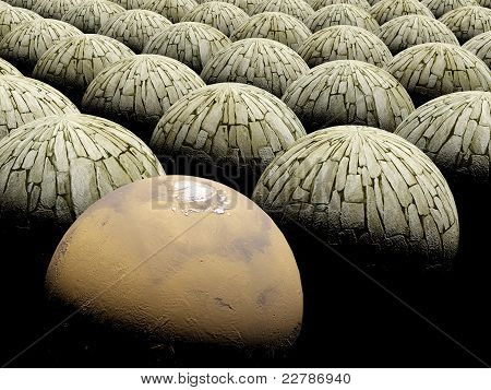 Abstract sphere background / space mars planet