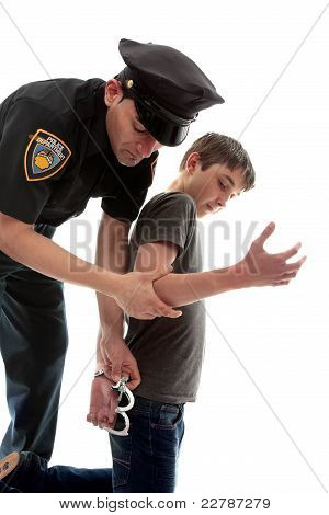 Policeman Arresting Teen Criminal