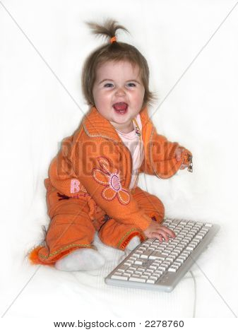 Baby Girl With Computer Keyboard