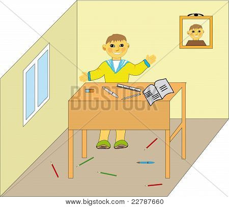 Boy, student in the room