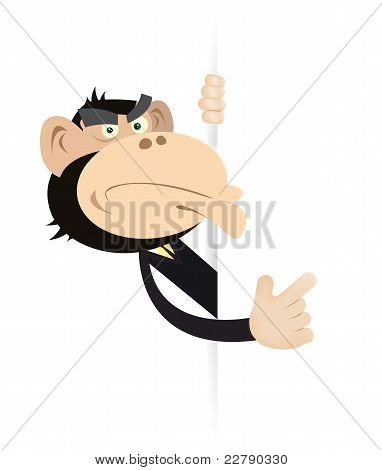 Monkey Businessman Blank Sign