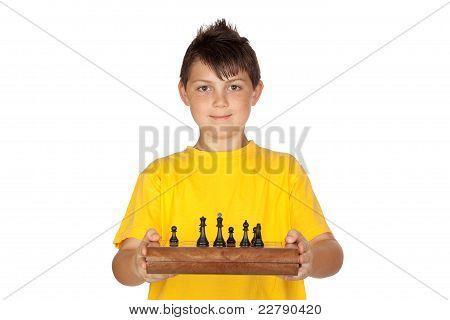 Adorable Boy With A Chess Game