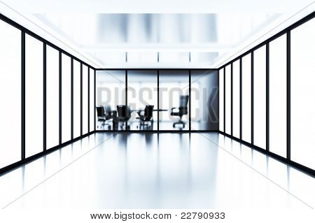 Empty meeting room behind a glass partition in modern cubicle