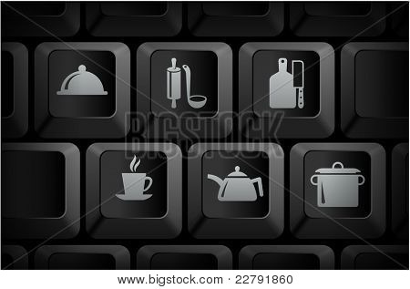Food Preparation Icons on Computer Keyboard Buttons Original Illustration