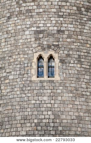 Castle turret wall and windows.