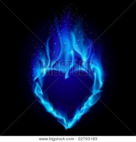 Heart in blue fire