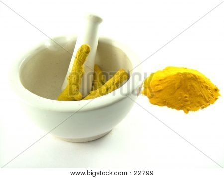 Turmeric In Mortar