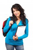 Young Student Woman With Backpack poster