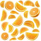 Set of ripe orange fruit and orange slices isolated on white. poster