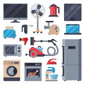 Home Appliances Domestic Vector Household Equipment Kitchen Electrical Domestic Appliances Technolog poster
