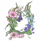 Wild Dog Rose Flowers Frame, With Butterfly Drawing Vector Clipart On White Background. poster