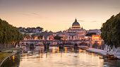 Scenic Night View Of Rome And Vatican poster