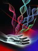 stock photo of encoding  - Computer artwork showing  a double stranded DNA  - JPG