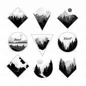 Collection Of Monochrome Landscapes In Geometric Shapes Circle, Triangle, Rhombus. Natural Sceneries poster