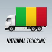 Symbol Of National Delivery Truck With Flag Of Mali. National Trucking Icon And Malian Flag poster