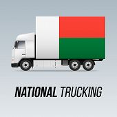 Symbol Of National Delivery Truck With Flag Of Madagascar. National Trucking Icon And Malagasy Flag poster