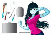 Zombie Girl With Black Hair. Things For The Zombie Apocalypse - Ax, Knife, Medical Kit, Zombie Case  poster