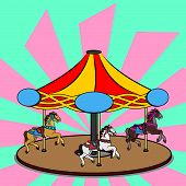 Full-color Vector Illustration Of A Carousel With Three Photorealistic Horses. Bright Colorful Clipa poster