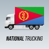 Symbol Of National Delivery Truck With Flag Of Eritrea. National Trucking Icon And Eritrean Flag poster