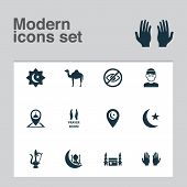 Religion Icons Set With Camel, Believer, Place And Other Animal  Elements. Isolated  Illustration Re poster