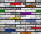 Seamless White Rainbow Brick Wall Pattern Background Texture. Rainbow Seamless Pattern.  Seamless Br poster