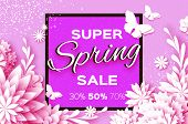 Origami White Super Spring Sale Flowers Banner. Paper Cut Floral Card. Spring Blossom. Happy Womens  poster