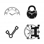 Time Locked Into The Castle And Safe. Vector Icons Set. Connected Together Safe And Clock poster