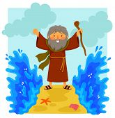 Cartoon Illustration Of Happy Moses Parting The Red Sea In The Biblical Story. poster