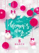 8 March Happy Womens Day Festive Card. Beautiful Background With Garland Of Hearts, Flowers And Bows poster