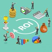 Flat Isometric Vector Concept Of Return On Investment, Roi, Digital Marketing, Marketing Analysis, P poster
