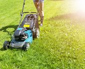 Beautiful Girl Cuts The Lawn. Mowing Lawns. Lawn Mower On Green Grass. Mower Grass Equipment. Mowing poster