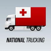 Symbol Of National Delivery Truck With Flag Of Tonga. National Trucking Icon And Tongan Flag poster