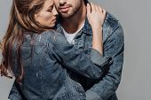 Cropped Shot Of Seductive Young Couple Hugging Isolated On Grey poster