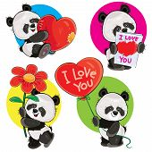 Valentine Day Vector Cartoon Set With Cute Panda Bears, With Soft Heart, With Love You Greeting Card poster