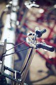 Rental bicycles parked, Zaragoza, Spain. poster