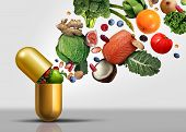 Vitamins Supplements As A Capsule With Fruit Vegetables Nuts And Beans Inside A Nutrient Pill As A N poster