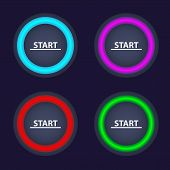 Set Of Color Start Buttons. Round Buttons With Color Illumination. Vector Start Buttons. poster