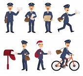 Postman Vector Mailman Delivers Mails In Postbox Or Mailbox And Post Character Carries Mailed Letter poster