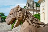 Sculpture Of  Lion In Group The Famous Temples Of Khajuraho. This Is A Large Group Of Medieval Hindu poster