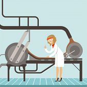 Hocolate Factory Production Line, Female Confectioner Controlling The Production Process Vector Illu poster