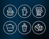 Set Of Latte, Coffee Cup And Frappe Icons. Takeaway, Milk Jug And Coffee-berry Beans Signs. Tea Glas poster