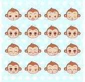 Emoticons, Emoji, Smiley Set, Colorful Sweet Little Cute Kawaii Anime Cartoon Monkey Different Emoti poster